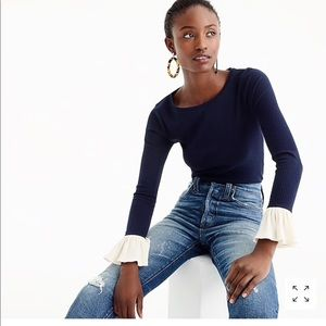 J Crew Ribbed Bell-sleeve top.